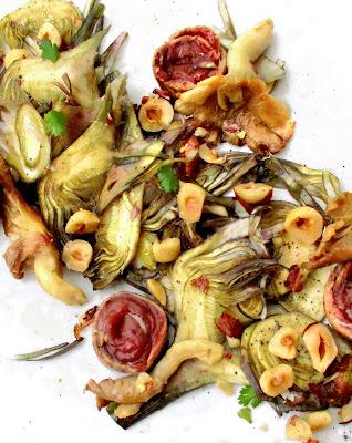 Bœuf Tataki, Carpaccio de Petits Violets, Pleurotes & Noisette