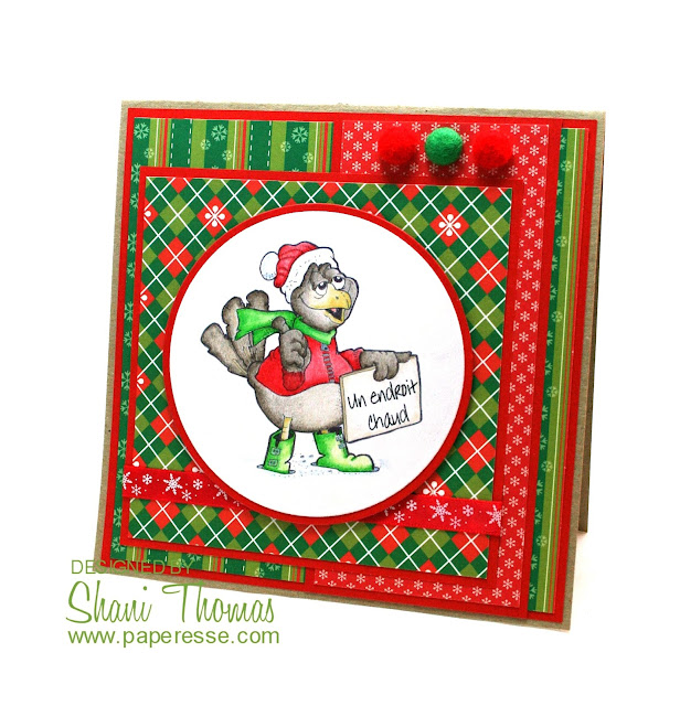 Christmas card featuring QKR Stampeded Anywhere South digital stamp, by Paperesse.