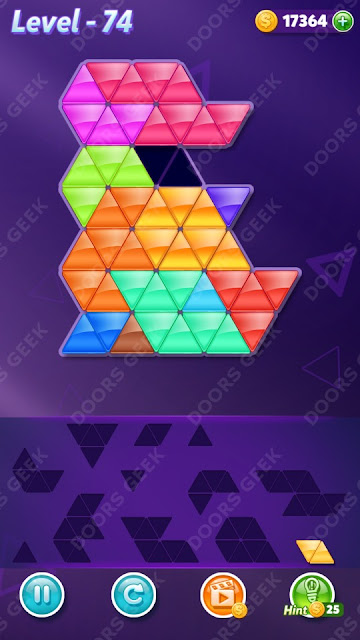 Block! Triangle Puzzle 12 Mania Level 74 Solution, Cheats, Walkthrough for Android, iPhone, iPad and iPod