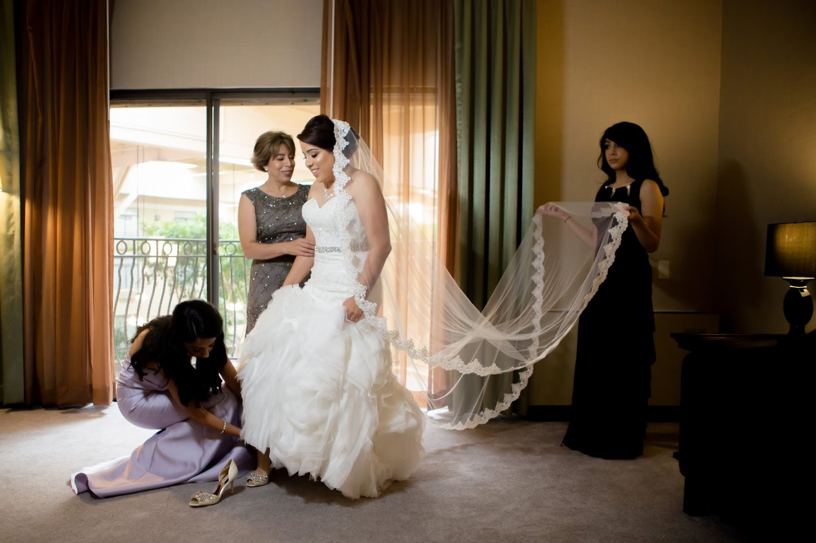 Helping the Bride with Finishing Touches