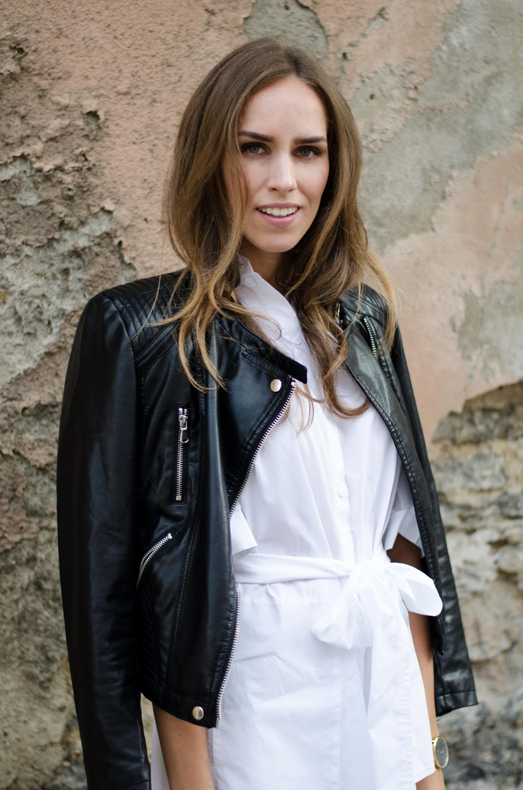 kristjaana mere leather jacket white shirt dress outfit