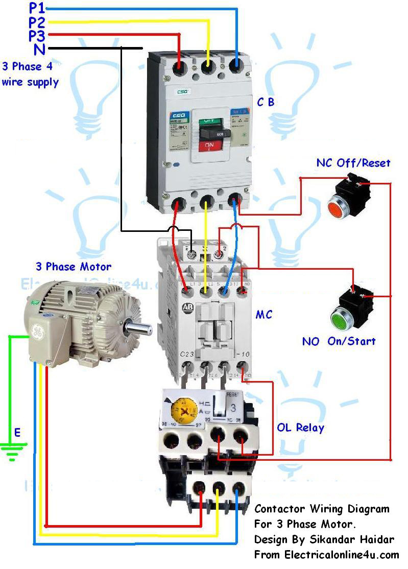 Wiring Connections A 3 Phase Motor Starter Connection Installing Contactor And Overload Relay For
