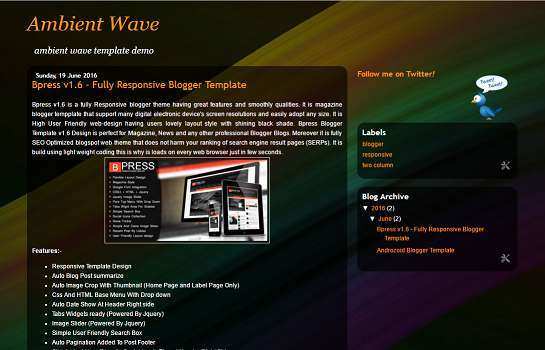 Ambient Wave Blogger Template