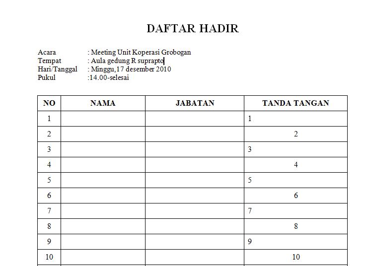 Contoh Form Daftar Hadir Rapat Digunakan Perusahaan Sring Gunakan Formulir