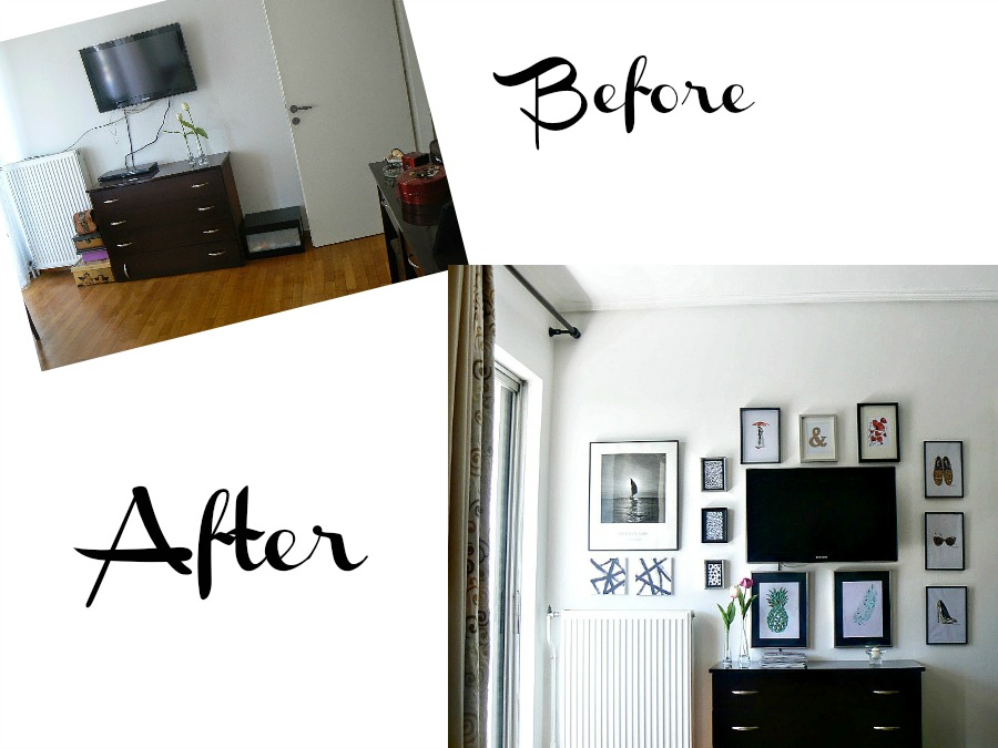 Before and after of a gallery wall