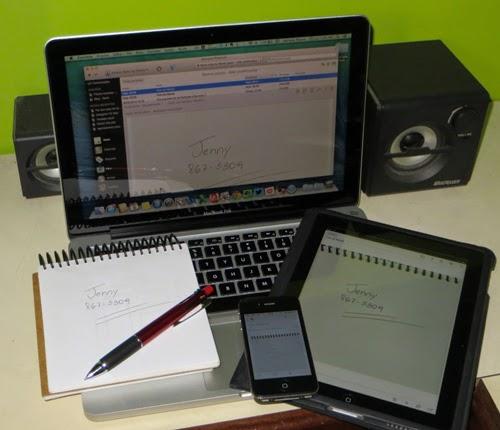 Foto mostrando um notebook, um smartphone e um tablet apresentando a mesma nota : a anotação de um telefone de número 867-5309, de uma tal Jenny