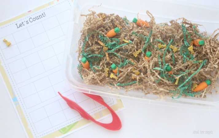 preschool counting sensory bin with mini erasers