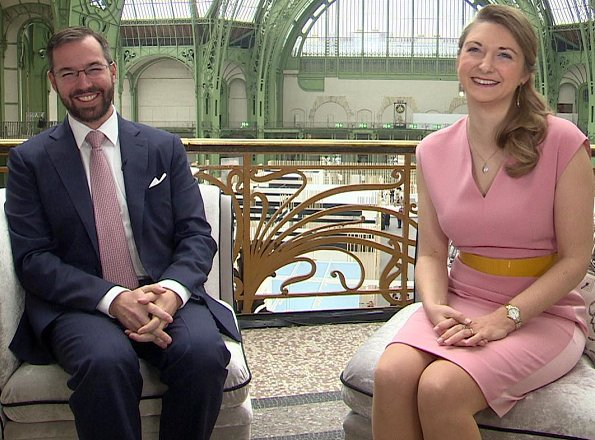 Princess Stephanie wore Paule Ka satin backed crepe dress. by French ready to wear brand Paule Ka. Hereditary Grand Duke Guillaume and Hereditary Grand Duchess Stéphanie