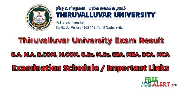Thiruvalluvar University Exam Result UG PG 1st 2nd 3rd Year All Semester