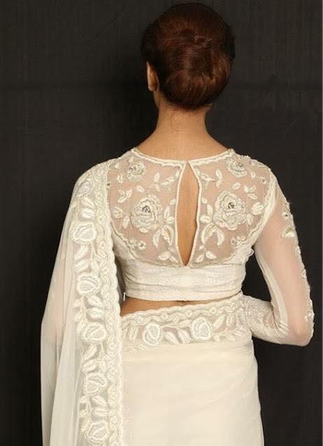 White V Neck Blouse Design