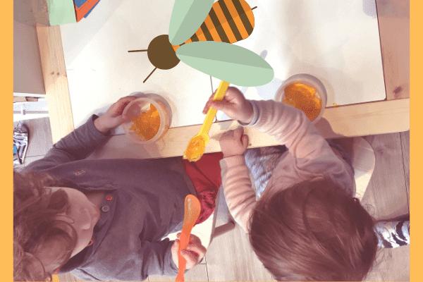 children eating honey royal jelly