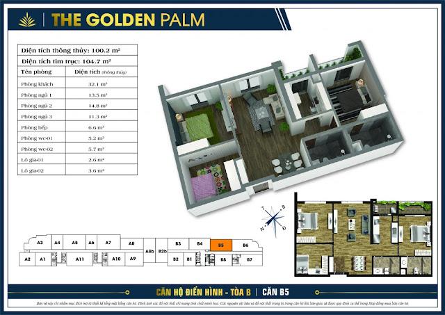 Mặt bằng căn B5 The Golden Palm