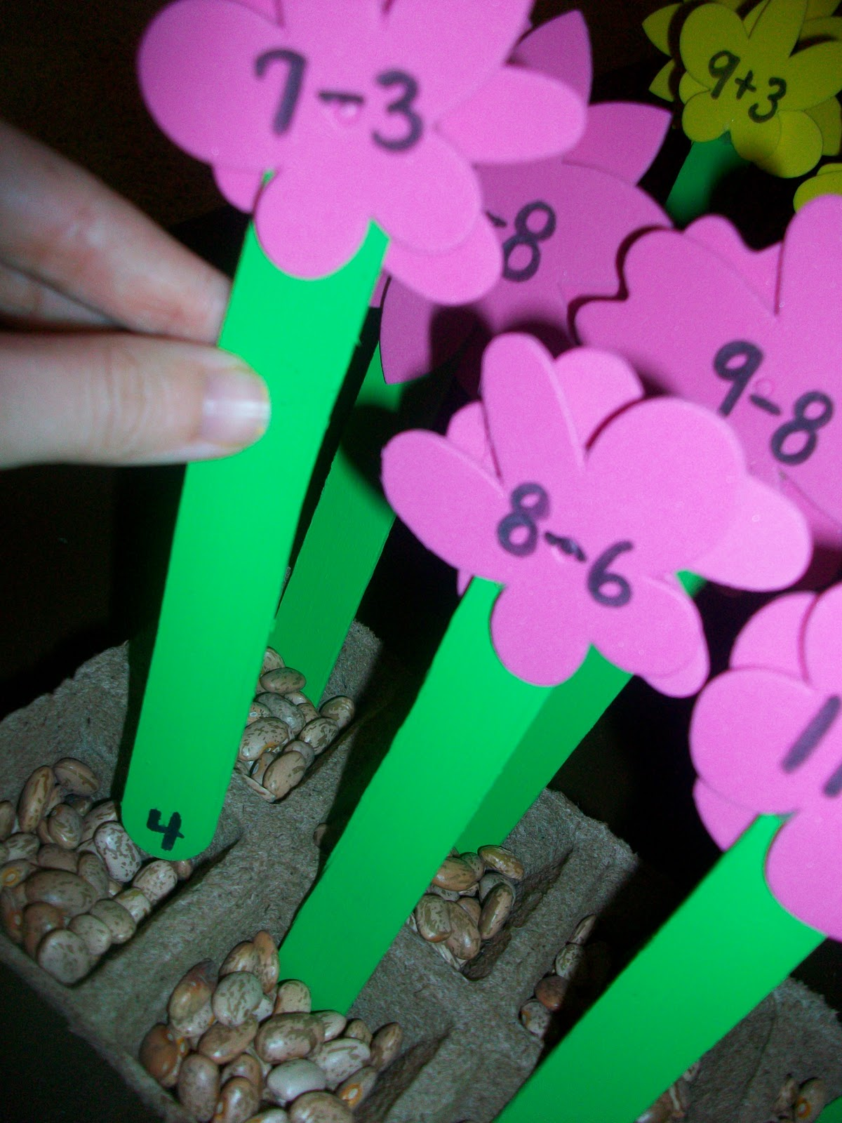 First Grade School Box Self Correcting Math Flowers