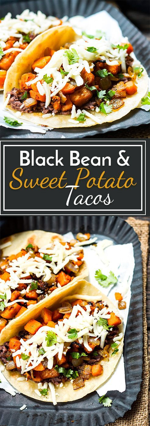 BLACK BEAN & SWEET POTATO TACOS | VEGETARIAN #blackbean #sweetpotato #tacos #vegan #veganrecipes #veggies #vegetarianrecipes #easyvegetarianrecipes