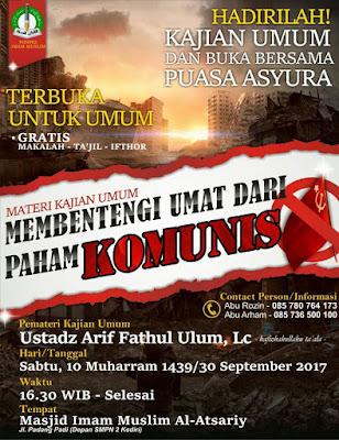 info kajian sunnah kediri - ngaji dan buka bersama puasa asyuro 10 muharram 1439 h - 30 september 2017 shared by karyafikri.blogspot.com