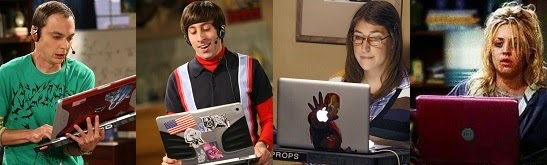 Personajes de The Big Bang Theory y sus laptops
