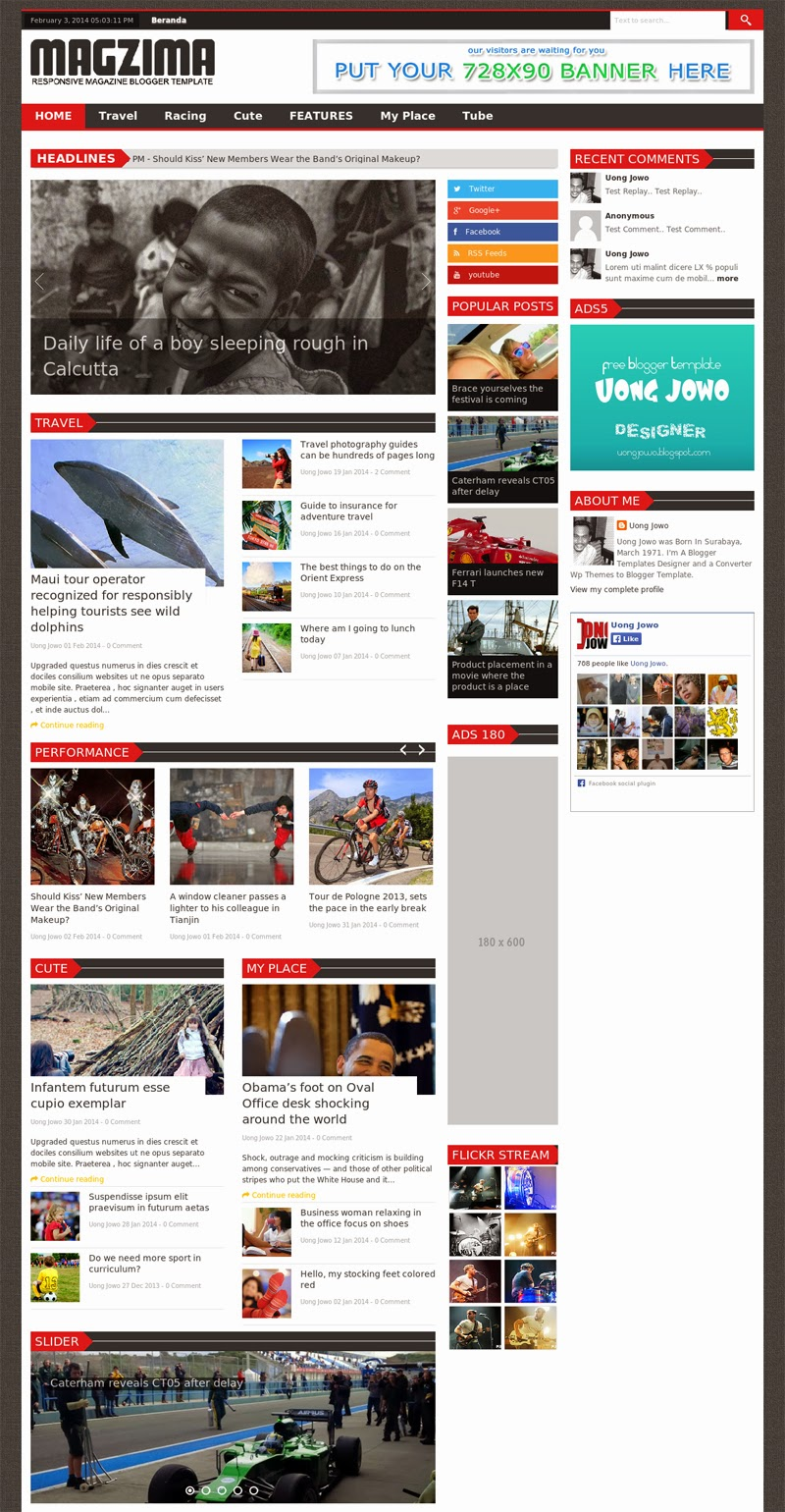 magzima theme, blogger template