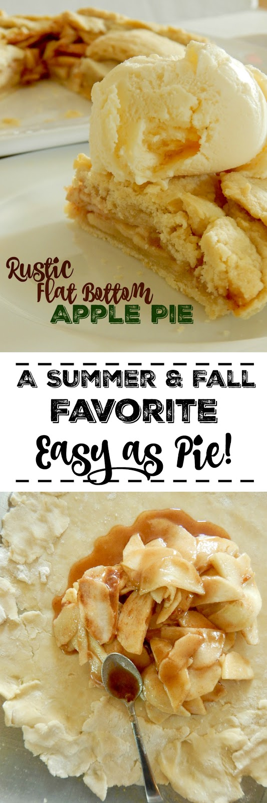 Rustic Flat Bottom Apple Pie...the lazy baker's pie dream!  A simple pie crust filled with juicy seasoned apples, folded up and baked to perfection.  Top with a healhy dose of whipped cream or ice cream and dessert is set. (sweetandsavoryfood.com)