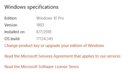 Windows 10 Pro versi 1803 build 17134.345