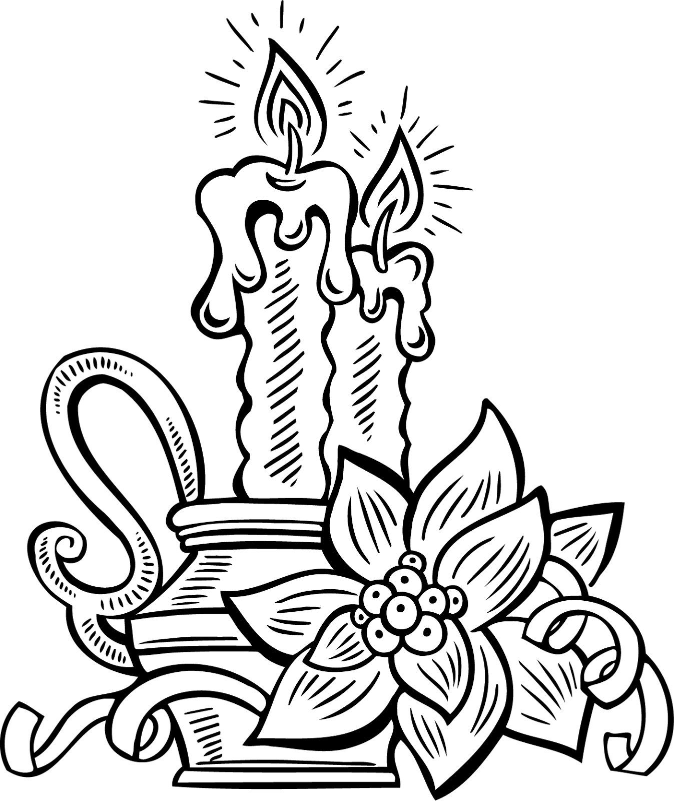Free Clipart Lilin Natal Hitam Putih Untuk Dekorasi