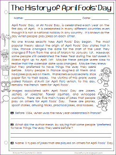 April Fools' Day Writing Worksheets
