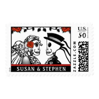 Skeletons Red Roses Custom Names Medium Postage Stamp Wedding