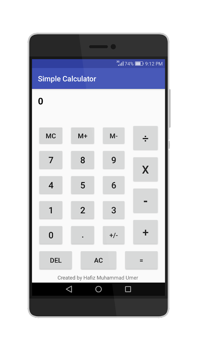 Simple Calculator Android Application Code