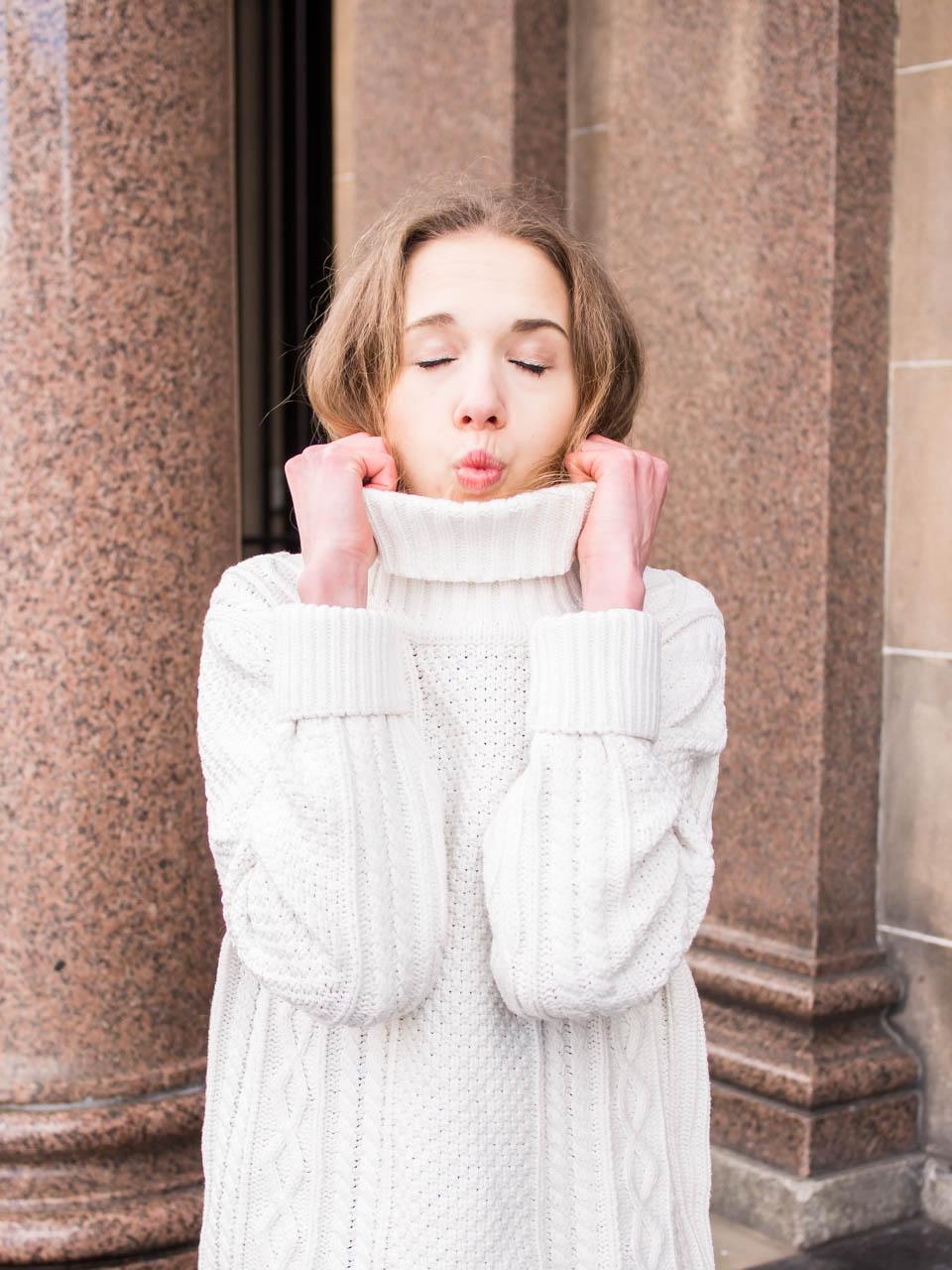 White cable knit jumper, winter fashion - valkoinen palmikkoneule, talvi, muoti, bloggaaja
