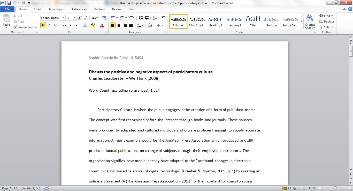 participatory culture essay sophie riley a screenshot of my essay
