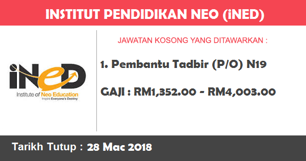 Job in Institut Pendidikan Neo (iNED) (28 Mac 2018)