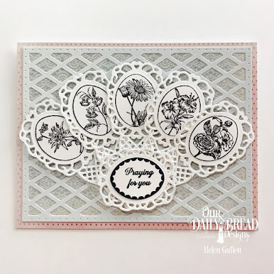 Our Daily Bread Designs Stamp Set: Lovely Flower, Custom Dies: Fancy Fan, Lattice Background, Paper Collections: Shabby Rose, Pastel