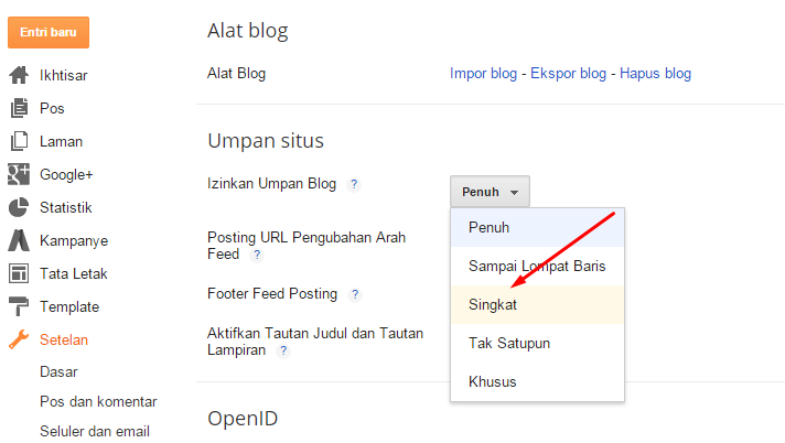 Ubah Settingan RSS Feed
