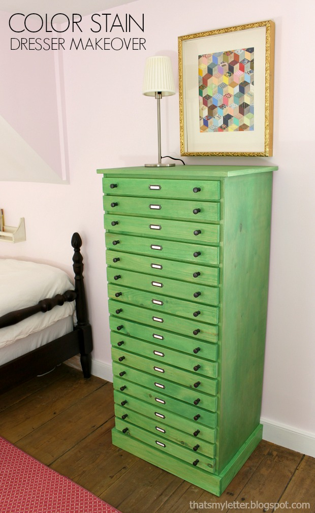 That's My Letter: Color Stain Dresser Makeover
