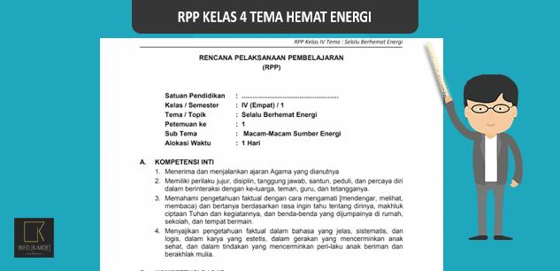 Download RPP Kelas 4 SD Kurikulum 2013 Tema Selalu Berhemat Energi Revisi Terbaru 2017