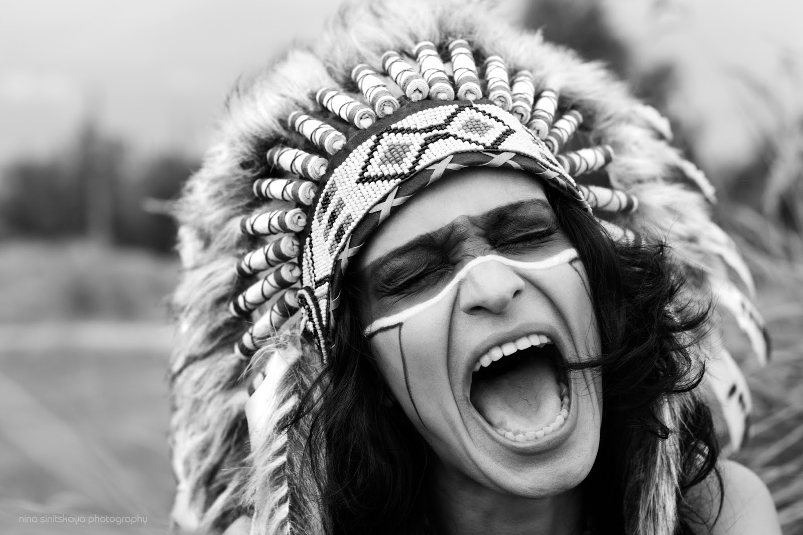 Indian girl screaming - black and white photography