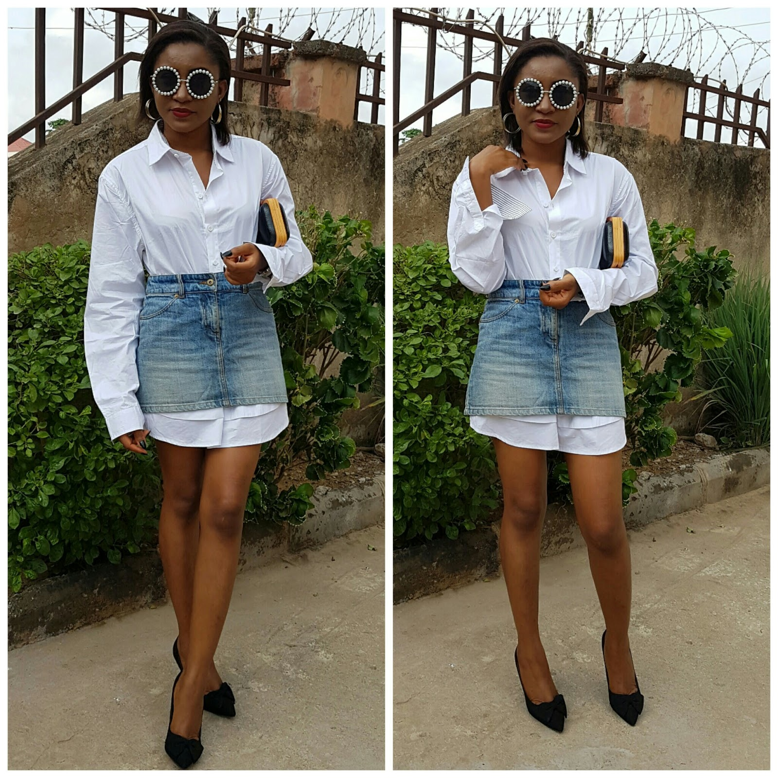 styling white oversize shirt, denim skirt, clutch, black heels, chanel sunglasses
