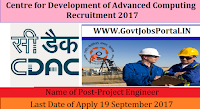 Centre for Development of Advanced Computing Recruitment 2017-67 Project Manager & Project Engineer