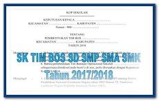 CONTOH SK TIM BOS PERMENDIKBUD NO 8 SD SMP SMA SMK Tahun 2018