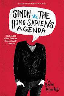 Cover of Simon Vs the Homo Sapiens Agenda. A black-clad boy stands against a bright red background, his hands in his pockets. A speech bubble with the title in it hovers where his head should be.