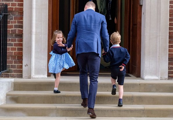Prince George and Princess Charlotte arrived at St Mary's Hospital in Paddington to meet their little brother