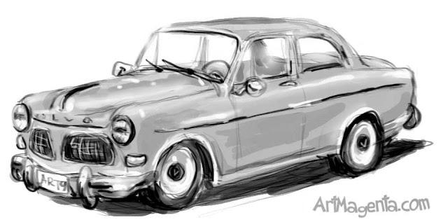 The car Volvo Amazon. A car cartoon by ArtMagenta.