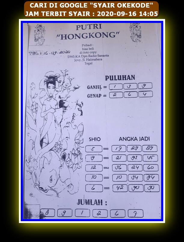 Kode syair Hongkong Rabu 16 September 2020 113