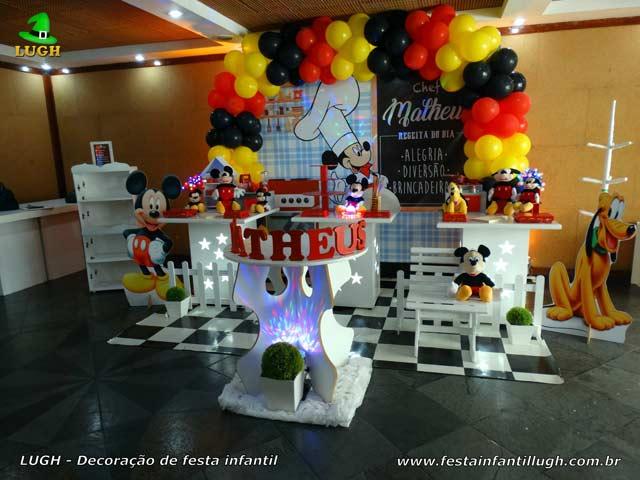 Decoração Culinária do Mickey para festa de aniversário infantil