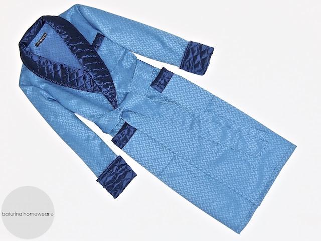 Men's full length dark blue silk dressing gown with quilted shawl collar gentleman's vintage luxury robe