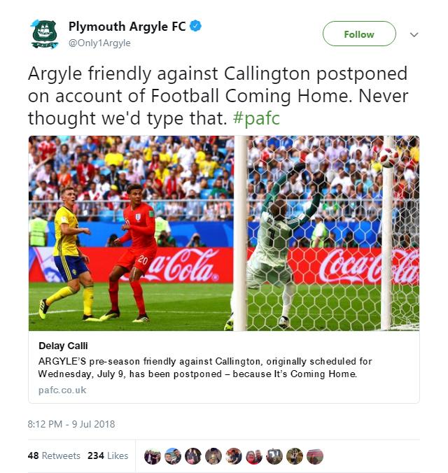 Plymouth Argyle have rearranged their pre-season friendly against Callington Town for a good reason