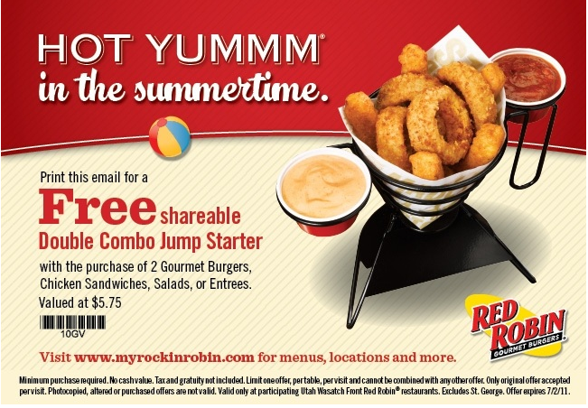 Fun Cheap or Free Coupons & Deals: Red Robin coupon, FREE