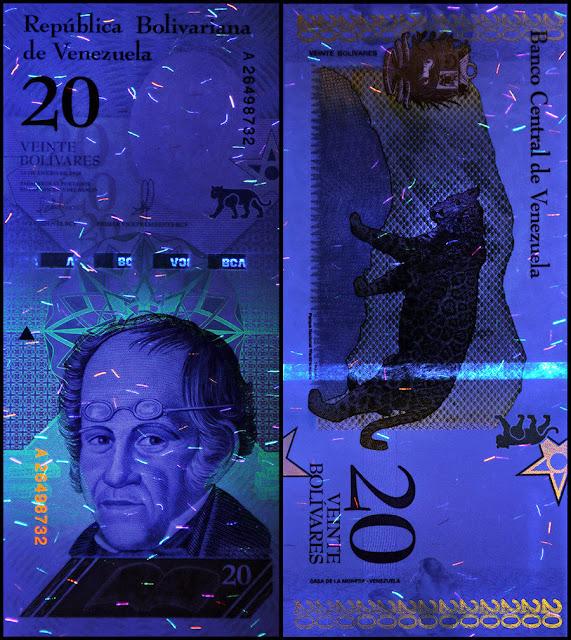Venezuela Currency 20 Bolivares Soberanos banknote 2018 under ultraviolet light