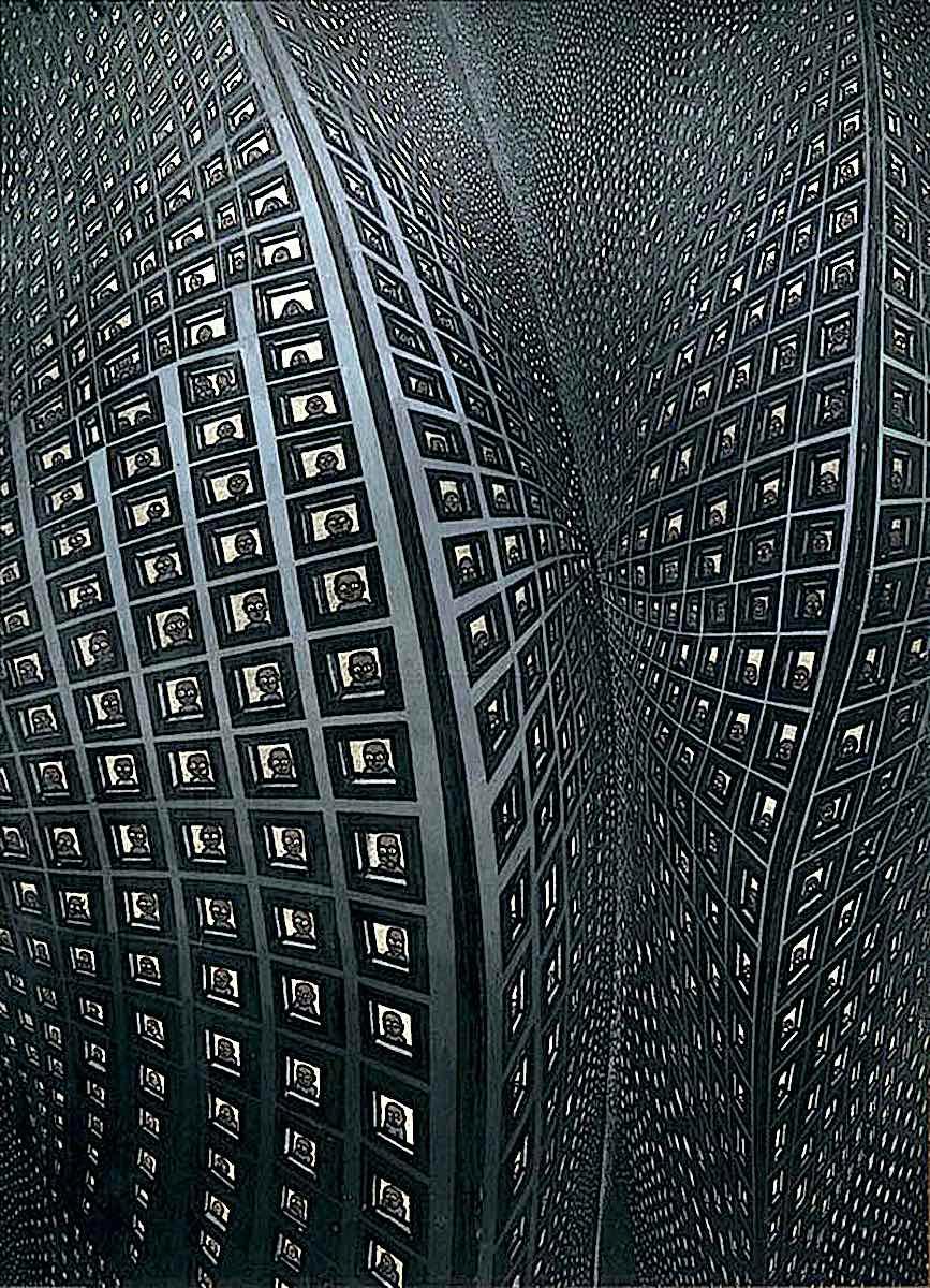 Pushwagner art, dense urban grid living
