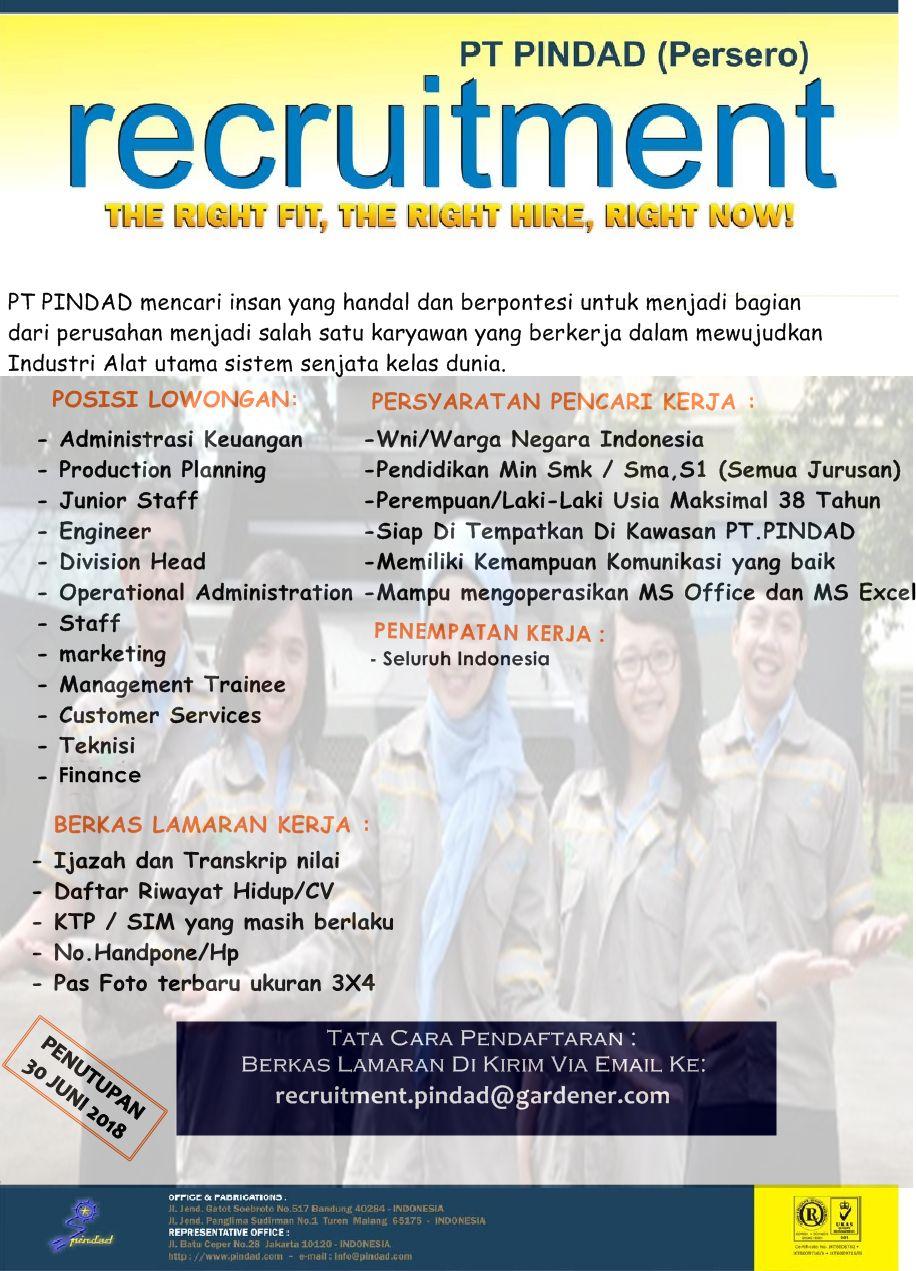 INFO Lowongan Kerja Terbaru BUMN PT Pindad (Persero) Lulusan SMA/SMK,D3/S1