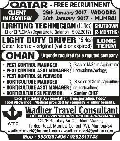 Qatar and Oman Job Vacancies from Wadher Travel Consultant